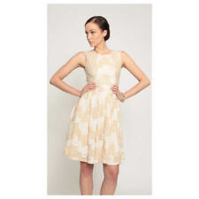 EVA FRANCO Anthropologie Augusta CHANTILLY LACE DRESS Gold Cream Prom Party 4