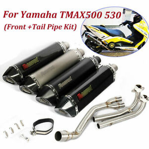For Yamaha TMAX500 530 Front Pipe Link Tube & 570mm Exhaust Muffler Silencer Tip