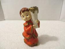 Vintage Christmas Candle Holder Plaster or Plastic Caroler Angel Boy; Star Japan