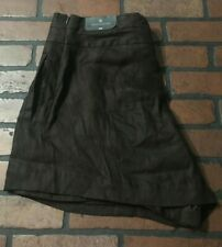 Worthington Side Zip Wide Leg Linen Brown Women's Dress Shorts Size 14