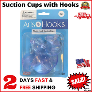 12 Pcs Plastic Suction Cups with Hooks 1.5 Inches for Shower Glass and Kitchen !