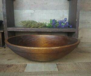 Antique Wooden Dough Bowl with Rim Band Large Primitive Wooden Bowl