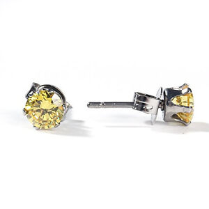 Sexy Sparkles Women's 6mm Stainless Steel Round Yellow Cubic Zirconia Stud Earri