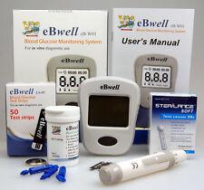 eBwell BLOOD SUGAR METER MONITOR GLUCOMETER + 50 BLOOD GLUCOSE STRIP + 50 LANCET
