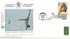 1996**FDC 1°JOUR**COMITE INTERNATIONAL OLYMPIQUE-PLONGEON.10M-ATLANTA*TIMBRE USA