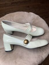Marc Jacobs Cream/ White Patent Leather Mary Jane Pump Heel Sz 39.5 / 9.5 AS-IS
