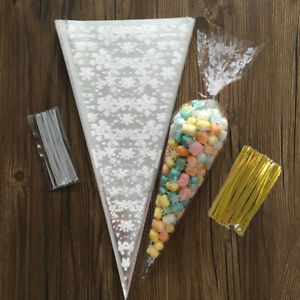 100/200Pcs Cello Party Loot Bags Sweet Bag Cone Candy Cellophane Pop Food Gift
