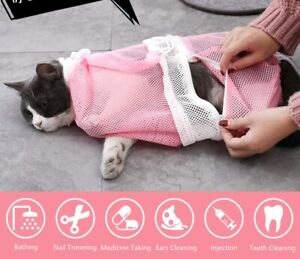Detachable Cat Bathing Bag and Adjustable Grooming Brush for Pet Washing Shower