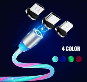3 in 1 Magnetic LED Fast Charging USB Cable Charger Phone Type-C Micro USB iOS