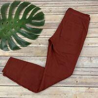 Anthropologie Jefferson Slim Utility Pants Size 27 Dark Orange Red Skinny Chino