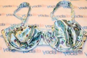 Vintage Unbranded Second Skin Satin Bra Size 38C Floral Shimmer Liquid