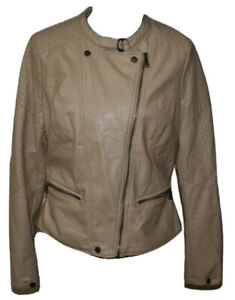 Junior Jou Jou XL tan faux leather lined motorcycle jacket