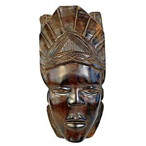 Tribal Art Mask Dark Hard Wood Effect Resin Face Headdress Ethnic Wall Hanging