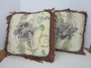 CROSCILL Chambord Cassis Décor Throw Pillow w/Fringe Purple Floral Set of 2 EUC