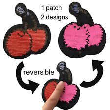 Sequin cherry iron on patch - reversible design red and pink iron-on patches