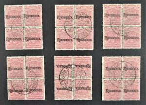 RHODESIA STAMPS 1909 OVERPRINT IN 6 BLOCKS OF 4 CTO og.  (Y53)