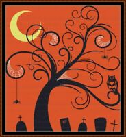 HALLOWEEN TREE cross stitch pattern PDF (point de croix)