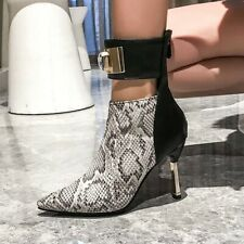 Women's Ladies Pointy Toe High Heeled Pumps Ankle Boots Booties Strap Rhinestone