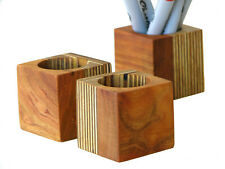 Contemporary Wood Desk Organizer in Cherry and Plywood