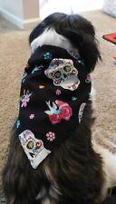 Dog Tie Bandanna with Skull Design -Handmade-Size Medium