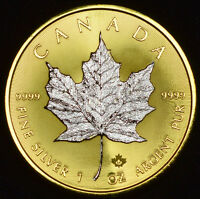 Gilded 2017 Canadian Maple Leaf 1 oz Silver Coin .9999 Fine, 24K Gold Reverse