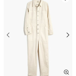 New Garment-Dyed Relaxed Coverall Jumpsuit XS Antique Cream MC933 Women's