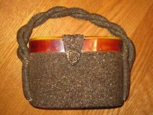 Vintage Art Deco 1940/50's Butterscotch Lucite and brown/gold beaded handbag