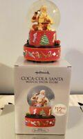 Hallmark Coca-Cola Christmas Santa Musical Snow Globe with Box 2001
