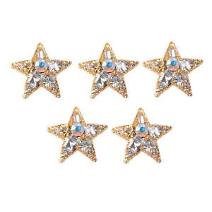 5 Pcs 35mm Five Pointed Star Alloy Rhinestone Pearl Flatback Beads DIY Craft
