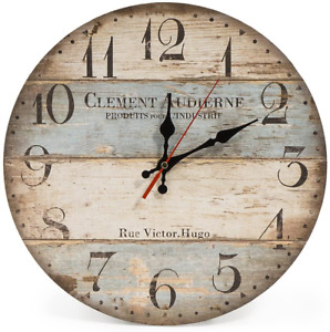 """Rustic Farmhouse Round Wall Clock Silent Decorative Distressed Vintage Wood 12"""""""