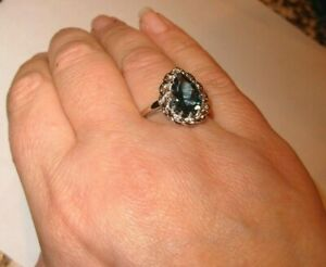 BIG 13X8MM GENUINE EARTH-MINED LONDON BLUE PEAR TOPAZ RING STERLING SILVER