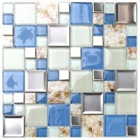 New Kitchen Bath Backsplash Beach Style Inner Conch Sea Blue Mosaic Tiles