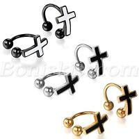 Women Men Punk Rock Stainless Steel No Piercing Cross Clip On Ear Studs Earrings