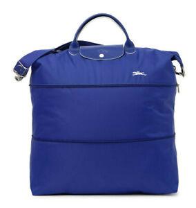 Longchamp Expandable Le Pliage Club Nylon Travel Bag Duffel Tote ~NIP~ Cobalt