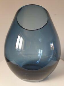 Handmade Blue Glass Vase Hurricane Style 24.5 cm H