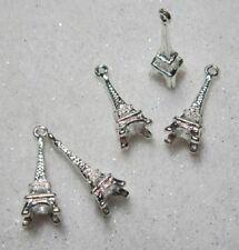Chapado en Plata 3D Torre Eiffel, París Francia encantos X 5 para tarjetas Artesanía Joyería