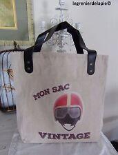 """sac cabas porté épaule """"mon sac vintage"""" tissu motif casque de moto rétro NEUF"""