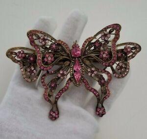 Vintage Pink Crystal Bronze Tone Large Butterfly Barrette  France