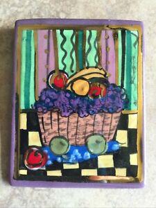 Laura Mostaghel Hand Signed Hand Painted Porcelain Basket Of Fruit Pin Brooch