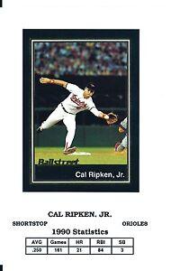 "Raro Cal Ripken Junior 1991 Ballstreet "" Uncut "" Baseball Scheda #12 ! Iron Man"