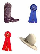 4 Mini Diecuts Cowboy hat, cowboy boot and ribbons.