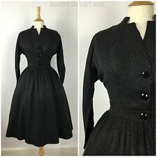 Vintage 1940s Polka Dot Two Piece Dress Suit 40s 50s Swing Dress Full Skirt 10