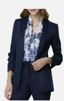 New TAHARI ASL NEW Women's Ruched-sleeve Linen Blazer Jacket Navy Blue Size 18
