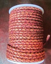 Top Quality Braided Leather 4 mm  Antiqued Fucia