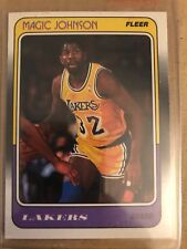 Autographed Magic Johnson-Los Angeles Lakers Guard Fleer card-1988
