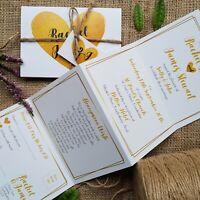 Personalised Wedding Invitations Evening Invites - Gold & Ivory - Handmade