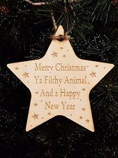 Birch Christmas Xmas Bauble Star Ya Filthy Animal - Laser cut wooden shape