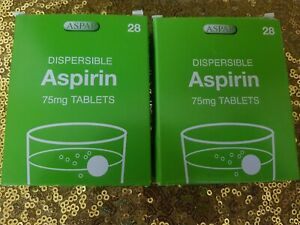 LOW DOSE Dispersible Aspirin Pack of 2- 28 Tablets Brand New : Exp 04/2022