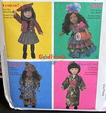 "Dolls of the world 18"" clothes pattern Japan France Brazil Kenya costume"