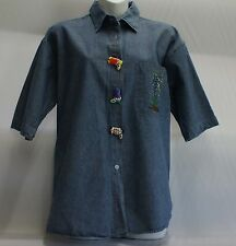 Denim top, short sleeved, decorated with Texas